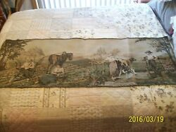 Tapestry Wall Hanging Antique Machine Woven Dutch Farm Couples 5and0395 X 1and0399