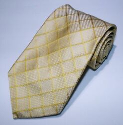Nwot Menand039s Brooks Brothers Makers Gold Metallic Checked Italian Silk Tie Usa