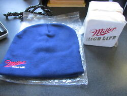 Miller High Life Beer Bar Coasters Sealed Pack Of 100 And New Stocking Cap New