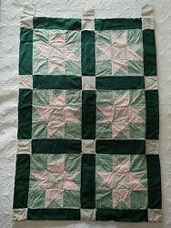 Wall Hanging Quilt Six Squares Ohio Star Pattern Handmade 27quot; x 40quot; Pink Green