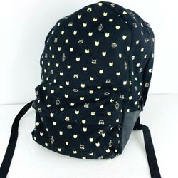 Cat Backpack Knit Fabric School Zip Faux Leather Handles Black Shoulder Tote $22.49