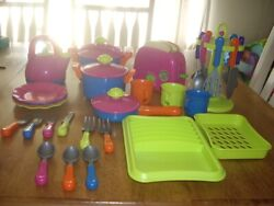 Euc Large Lot Just Like Home Childs Play Pots Teapot Toaster Utensils Dish Drain