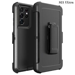Black For Samsung S21 S21Ultra 5G Defender Case with Clip Fits Otterbox $9.99