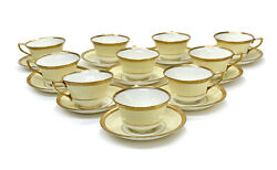 10 Royal Worcester England Porcelain Cup And Saucers 1937. Gold Trim