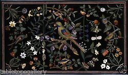 4and039x2and039 Black Marble Dining Table Top Rare Mosaic Parrot Inlay Home Decor H1721