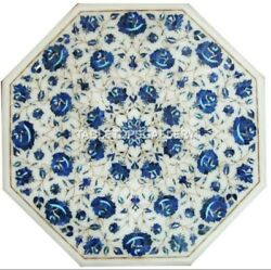 24 Lapis Floral Inlay Marble White Center Coffee Table Tops Interior Decor W045