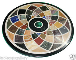 3and039x3and039 Black Marble Round Dining Top Rare Marquetry Inlay Mosaic Home Decor H619