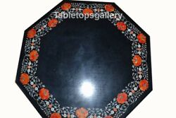 24 Marble Coffee Table Top Carnelian Floral Marquetry Inlay Interior Decor B028