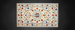 4and039x2and039 Semi Precious Dining Marble Table Top Multi Floral Inlay Stone Decor H3827