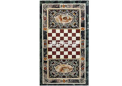 4and039x2and039 Marble Green Play Chess Dining Table Top Marquetry Mosaic Arts Decor H3806