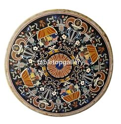 4and039x4and039 Marble Top Dining Table Pietra Dura Mosaic Inlay Art Restaurant Decor B131