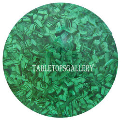36 Round Green Marble Dining Table Real Malachite Inlay Stone Decorative H473