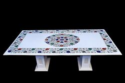 4and039x2and039 Marble Dining Table Top With 15 Stand Semi Precious Floral Inlay Art W617
