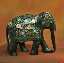 9'' Marble Black Elephant Figurine Floral Decor Collectible Home Gifts Art H3770