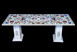 4'x2' Marble Dining Table Top Multi Floral And Birds Inlay Art With 18 Stand W603