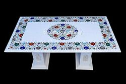 24x42 Marble Top Dining Table With 15 Stand Multi Stone Inlay Home Decor W608