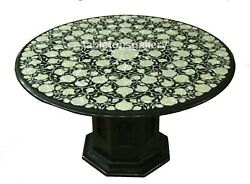 36and039and039x36 Marble Top Dining Table Mother Of Pearl Floral Inlay With 18 Standb696