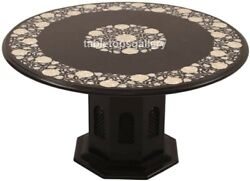 30 Marble Dining Table Top Mother Of Pearl Floral Inlay Art With 16 Stand B698