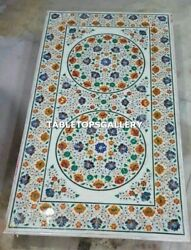 6and039x3and039 White Marble Dining Table Top Pietra Dura Antique Inlay Handmade Art H4327