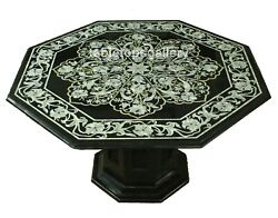 30 Black Marble Coffee Table Top With 16 Stand Mop Floral Inlay Art Decor B697