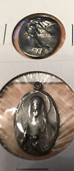 Lot 2 Coins Tokens Guardian Angel Double Sided Jesus And Mother Child Charm Medals