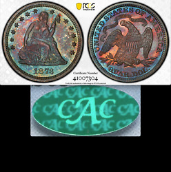 1873 Pcgs Pr65 Cac 52000 For Ms62 🔴✅ Closed 3 Seated Quarter Pretty Proof 25c