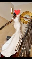 Mermaid Fishtail Bardot Embroidery Detail Wedding Dress With Shoulder Cape