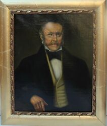 Antique 19 Cent 1880 Oil Painting On Canvas, Portrait Of A Gentleman, Unsigned