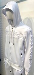 New Mens White Zip Up Hoodie Jacket With Greek Pattern Chest Sleeves Polyester
