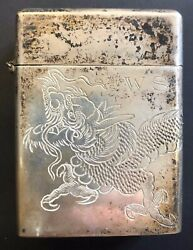 Antique Chinese Dragon Engraved Sterling Silver 3.1in. Tall Cigarette Pack Case