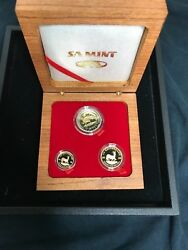 2008 South Africa 3-coin Gold Oom Paul Proof Set W/box And Coa 73 Of 250