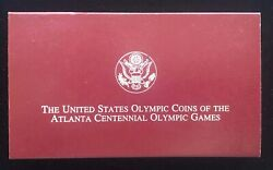 1995-p Us Mint Olympic Coins Of Atlanta Games 2 Coin Silver Proof Set W/ Coa