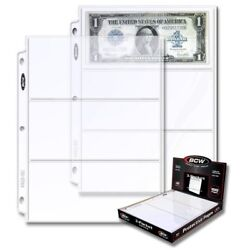 1 Case 1000 Bcw 3-pocket Currency Pages Size 3.5x8 Paper Money Binder Holders