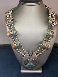 Vintage Navajo Sterling Silver Squash Blossom Turquoise And Red Corral Necklace