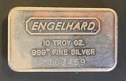 Vintage Engelhard 10ozt .999 Fine Silver Bar, Variety A,p Serial, Only 250 Made