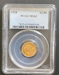 1928 Indian Head 2.5 Quarter Eagle Gold Pcgs Ms-63, Excellent Uncirculated Coin