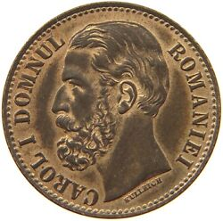 Romania 2 Bani 1880 Top Double Struck Carol Domnul Great Color S78 809