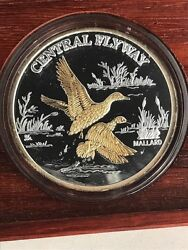Duckand039s Unlimited Central Flyway 1oz. Silver Round W/ Gold Gilding In Brown Box
