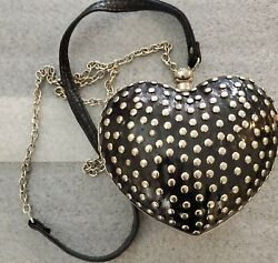 Expressions NYC Purse Evening Black🖤 amp; Silver Bag Chain Strap Hard Box Case $9.99