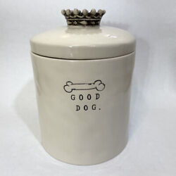 Rae Dunn Boutique Good Dog And Bone Canister Treat Jar With Crown Lid Retired Rare