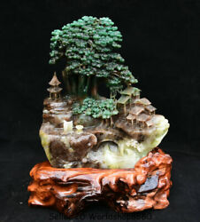 13.2 Natural Dushan Green Jade Hand Carved Tree House Old Man Landscape Statue