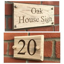 Personalised Oak House Sign Beveled Custom Engraved Outdoor Wooden Name Plaque
