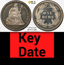1866 Pcgs Pr64 Cameo 8,000 Minted + 725 Proof = 3rd Lowest 10c ✅ Seated Dime Key