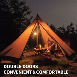 Pyramid Tipi Tent Windproof Large 4-6 Persons 4 Season Outdoor Camping Tent