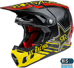 Fly Racing Kinetic Straight Edge Motocross Offroad Helmet Xs-2x Black/red/yellow
