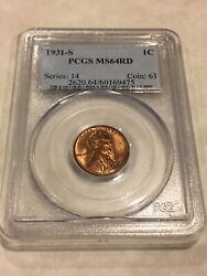 1931-s Pcgs Ms64rd 1c Lincoln Cent Penny Red Pq Great Appeal Old Blue Label