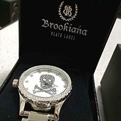 Brookiana Clear Zirconia Club Musicians Limited Black Label Skull Menand039s Watch