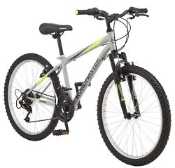 Roadmaster Granite Peak Boyand039s Mountain Bike 24-inch Wheels Silver Ships Fast