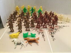 Vintage Lot Of 58 Mixed Cowboys/ Animals/fence Panels Mpc