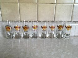 Set Of 8 Hard Rock Cafe Shooter Shot Glass's, 2 From Closed Cafe's, New Not Used